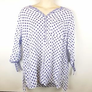 St John's Bay White And Blue Button Up Tunic Top